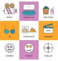 Stock linear icon movie vector