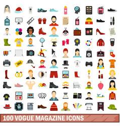 100 vogue magazine icons set flat style vector