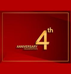 4 anniversary celebration logotype golden color vector