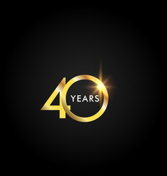 40 years anniversary celebration gold template vector