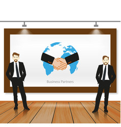 a business team working in partnership vector image