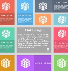 A three sided cube puzzle box in 3D icon sign Set vector image