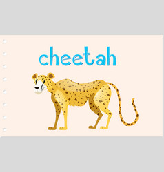 animal wordcard with wild cheetah vector image