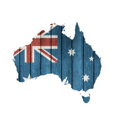 Australian Map With Wooden Flag vector image