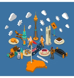 Australian Touristic Attractions Symbols Isometric vector image
