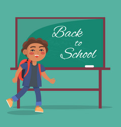 Back to school banner with text depicting kid vector