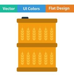 Barrel with wheat symbols icon vector image