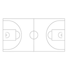 basketball field outline plan basketball vector image
