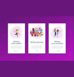 Birthday party app interface template vector