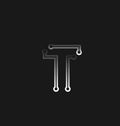 Black and white line alphabet letter t for vector