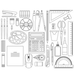 black-and-white set of office supplies vector image