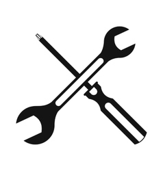 Black screwdriver and spanner flat icon vector image