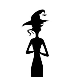 black silhouette of slim witch with curly hair vector image
