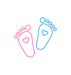 Blue and pink child feet icon vector