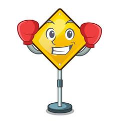 Boxing harm warning sign shaped on cartoon vector