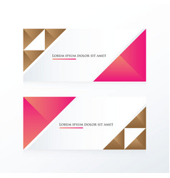 Brown pink triangle banner vector
