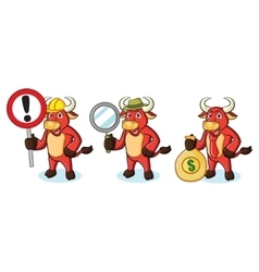Bull Red Mascot with money vector image