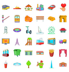 Capital icons set cartoon style vector