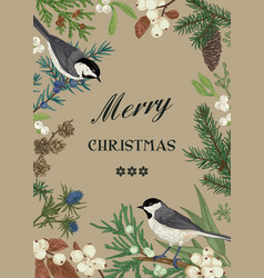 card with birds and evergreens vector image