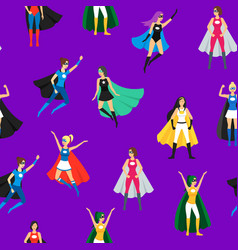 cartoon female superhero seamless pattern vector image