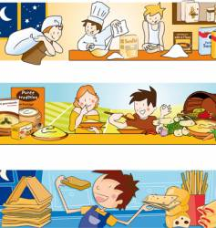 children and food illustration vector image vector image