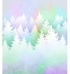 Christmas background with frosty winter forest vector