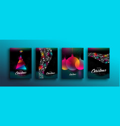 christmas new year color holographic neon card set vector image