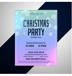christmas party flyer banner snowflakes template vector image