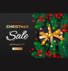 christmas sale banner realistic fir-tree branches vector image