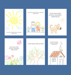 collection of cards with kids sketch in doodle vector image
