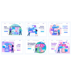 collection of landing pages data storage vector image