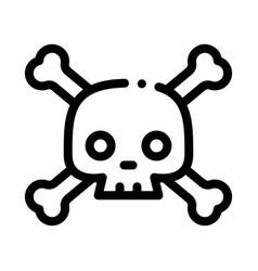 Cross bones skull icon outline vector