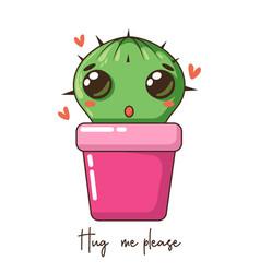 cute bacartoon cactus with funny kawaii faces vector image