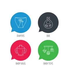 Diapers child mug and baby toys icons vector