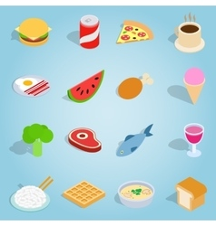 Dinner set icons isometric 3d style vector image