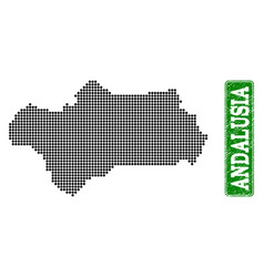 Dotted map of andalusia province and grunge vector