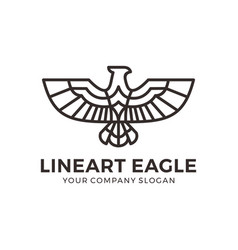 eagle falcon bird logo design with mono line style vector image