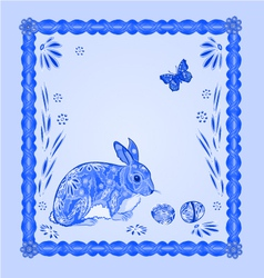 Easter blue bunny with butterfly frame vector