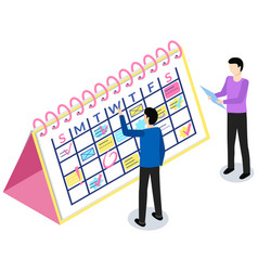 Employees analysing schedule for week timetable vector