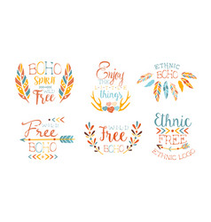enjoy little things hand drawn badges set vector image