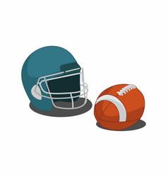 equipment american football helmet and ball vector image