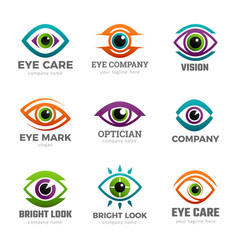 Eyes logo optical symbols for ophthalmology vector