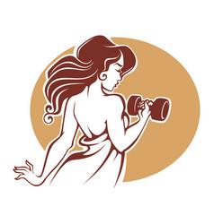 Fitness goddes female gym logo template vector