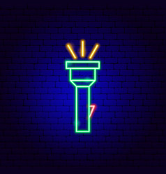 Flashlight neon sign vector