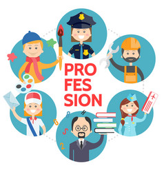 Flat profession avatars round concept vector