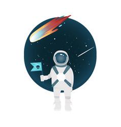 Flat spacemen spacesuit in cosmos vector