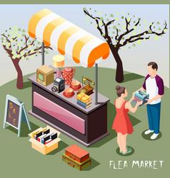 flea market isometric background vector image
