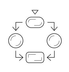 flow diagram line icon vector image