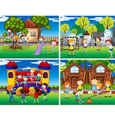 Four scenes of children playing in the park vector