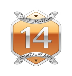 Fourteen years anniversary celebration silver logo vector